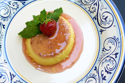 Classic Spanish Flan with Strawberry Caramel infused with Anise