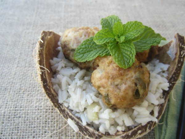 An Odd Bit Recipe: Chicken And Mint Meatballs With Coconut Rice