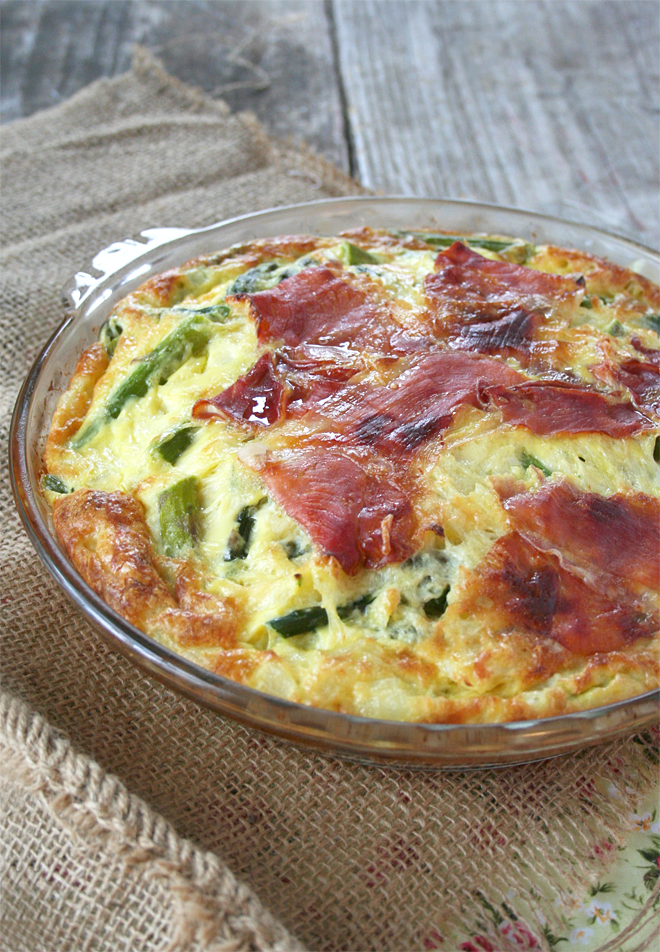 a spring quiche recipe an asparagus and prosciutto self crusting quiche my humble kitchen. Black Bedroom Furniture Sets. Home Design Ideas