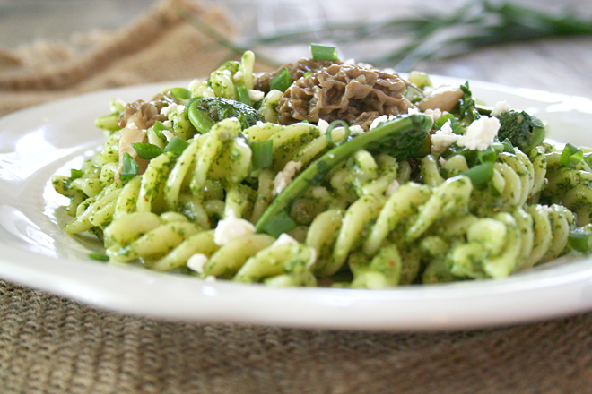 A Foraged Recipe: Garlic Mustard Pesto Pasta Topped with Fiddleheads and Morel Mushrooms
