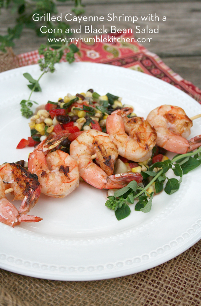 Grilled Cayenne Shrimp with a Corn and Black Bean Salad