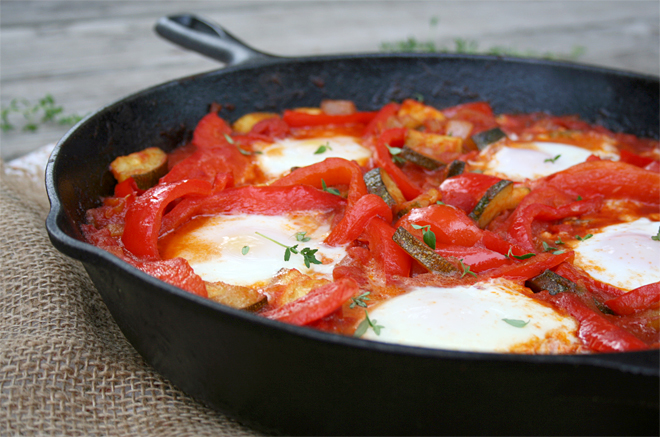 A Summer Skillet Meal: Red Peppers, Zucchini, and Eggs | myhumblekitchen.com