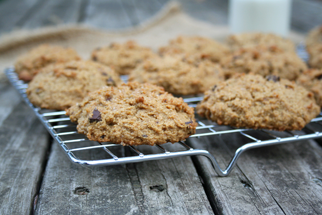 Whole Wheat Pumpkin Peanut Butter Cookies with Dark Chocolate | myhumblekitchen.com