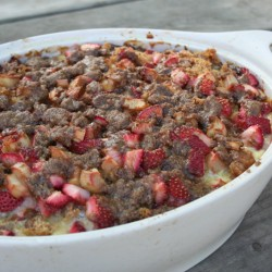 Baked Strawberry & Rhubarb French Toast Casserole | myhumblekitchen.com
