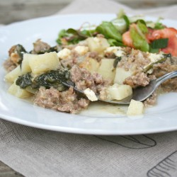 Creamed Spinach, Sausage, and Potato Casserole | myhumblekitchen.com