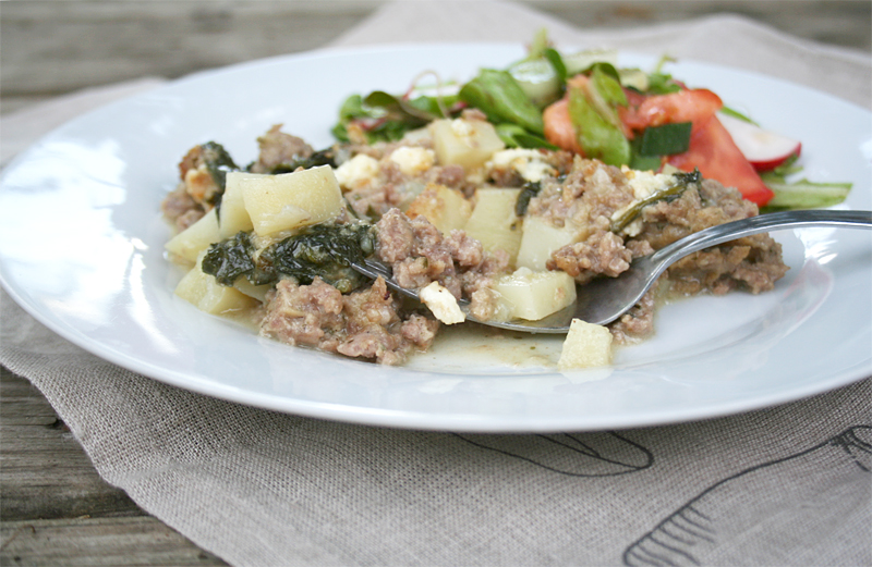 Creamed Spinach, Sausage, and Potato Casserole – A Simple Mid-Week Recipe