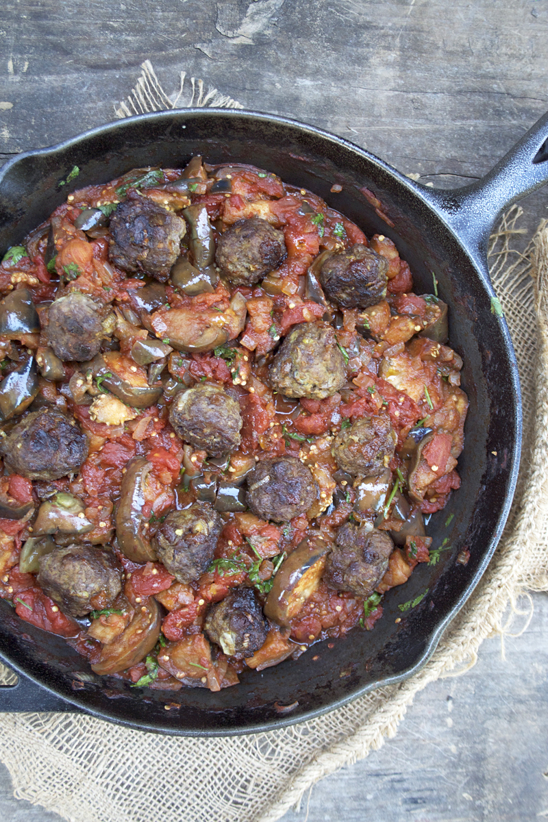 Eggplant Salad with Meatballs