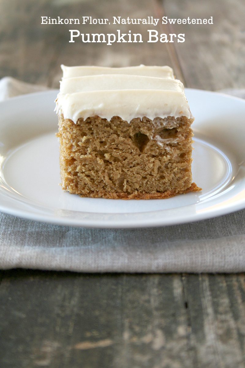 Einkorn Flour, Naturally Sweetened, Pumpkin Bars | myhumblekitchen.com