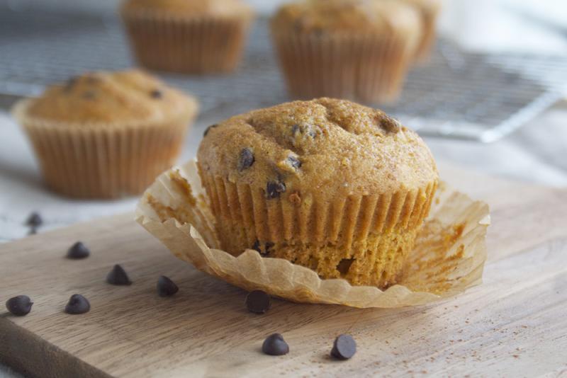 Honey Sweetened, Butternut Squash Chocolate Chip Muffins