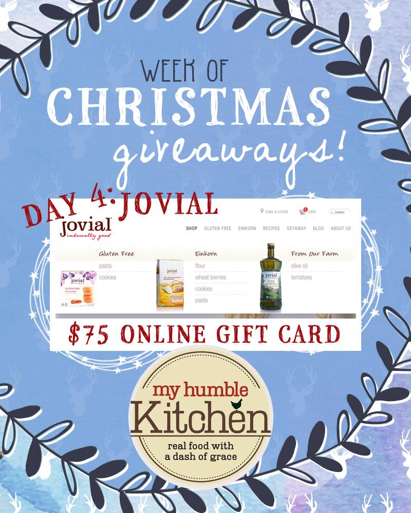 My Humble Kitchen's Week of Christmas Giveaways – Day 4 with Jovial Foods!