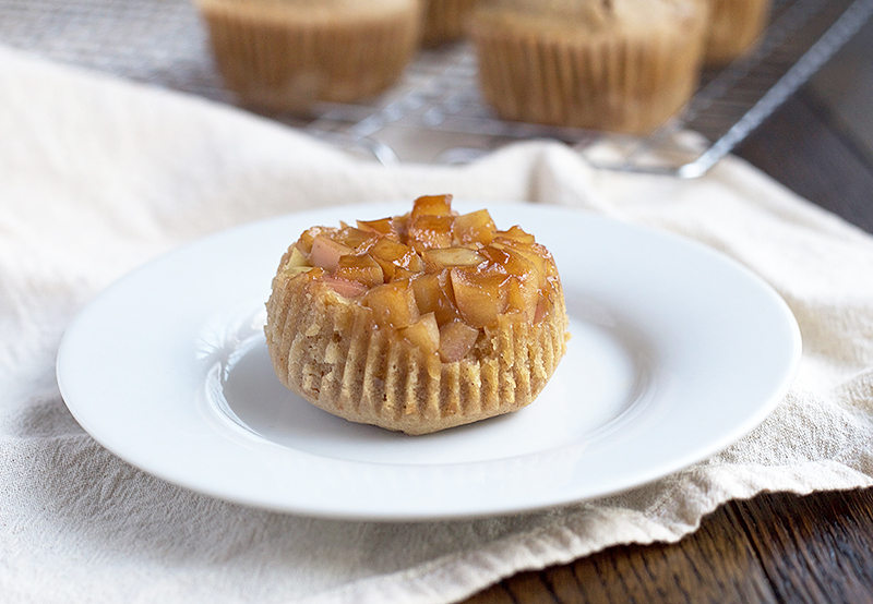 Upside-Down Einkorn Apple Muffins